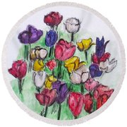 Tulip Bed Round Beach Towel by Clyde J Kell