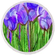 Round Beach Towel featuring the mixed media Tulip Bloomies 1 - Purple by Carol Cavalaris