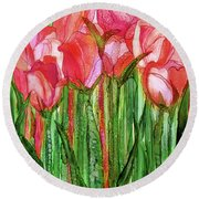 Round Beach Towel featuring the mixed media Tulip Bloomies 1 - Red by Carol Cavalaris