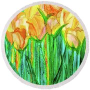 Round Beach Towel featuring the mixed media Tulip Bloomies 1 - Yellow by Carol Cavalaris