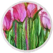 Round Beach Towel featuring the mixed media Tulip Bloomies 2 - Pink by Carol Cavalaris