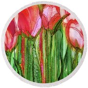 Round Beach Towel featuring the mixed media Tulip Bloomies 2 - Red by Carol Cavalaris