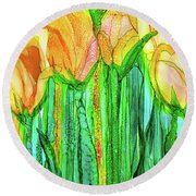 Round Beach Towel featuring the mixed media Tulip Bloomies 2 - Yellow by Carol Cavalaris