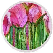 Round Beach Towel featuring the mixed media Tulip Bloomies 3 - Pink by Carol Cavalaris