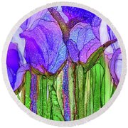 Round Beach Towel featuring the mixed media Tulip Bloomies 3 - Purple by Carol Cavalaris