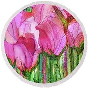 Round Beach Towel featuring the mixed media Tulip Bloomies 4 - Pink by Carol Cavalaris