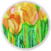 Round Beach Towel featuring the mixed media Tulip Bloomies 4 - Yellow by Carol Cavalaris