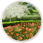 Round Beach Towel featuring the photograph Tulip Cafe by Diana Angstadt