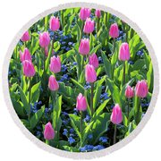 Tulip Christmas Dream Flowers Round Beach Towel