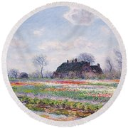 Tulip Fields At Sassenheim Round Beach Towel