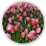 Tulip Flowers  Round Beach Towel