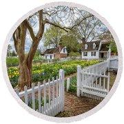 Tulip Garden Colonial Williamsburg  Round Beach Towel