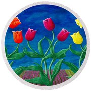 Tulip Tango Round Beach Towel by Rebecca Parker