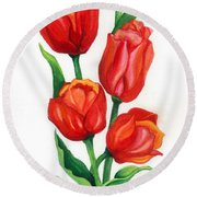 Round Beach Towel featuring the painting Tulip Time by Barbara Jewell