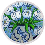 Tulip Tranquility Round Beach Towel