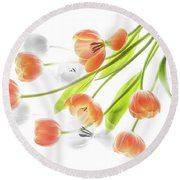 A Creative Presentation Of A Bouquet Of Tulips. Round Beach Towel