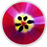 Tulip Vivid Floral Abstract Round Beach Towel
