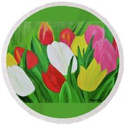Round Beach Towel featuring the painting Tulips 2 by Magdalena Frohnsdorff