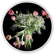 Tulips And Baby's Breath Round Beach Towel