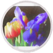 Tulips And Iris Round Beach Towel