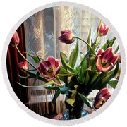 Tulips And Lace Round Beach Towel by Jodie Marie Anne Richardson Traugott          aka jm-ART