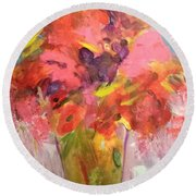 Tulips And Poppies Round Beach Towel
