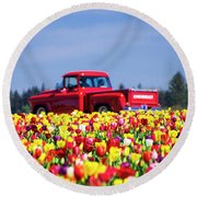 Tulips And Red Chevy Truck Round Beach Towel