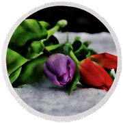 Tulips And Snow Round Beach Towel