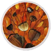Tulips And Violins Round Beach Towel by Sarah Loft