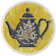 Tulips And Willow Pattern Teapot Round Beach Towel