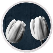 Tulips And Wood Round Beach Towel