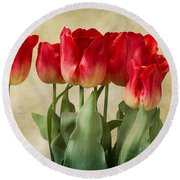 Round Beach Towel featuring the photograph Tulips by Ann Jacobson