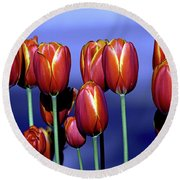 Tulips At Attention Round Beach Towel