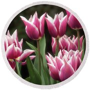 Tulips Bed  Round Beach Towel