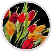 Tulips Colors Round Beach Towel by Khalid Saeed