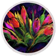 Tulips Round Beach Towel by DC Langer