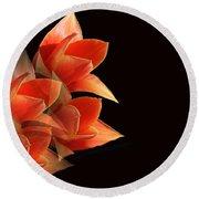 Tulips Dramatic Orange Montage Round Beach Towel