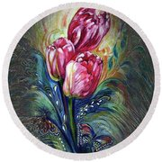 Tulips Fantasy Round Beach Towel