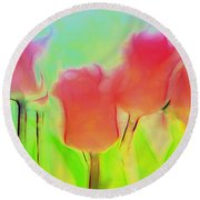 Tulips In Abstract 2 Round Beach Towel