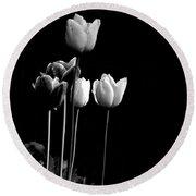 Tulips In Black Round Beach Towel