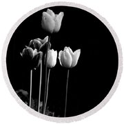 Tulips In Black Round Beach Towel