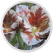 Tulips In Springtime Photomosaic Round Beach Towel by Michelle Calkins