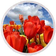 Tulips In The Sky Round Beach Towel