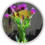 Tulips In Vase Cubed Round Beach Towel by David Pantuso