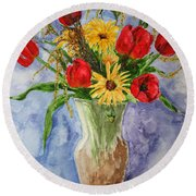 Tulips In Vase Round Beach Towel by Marna Edwards Flavell