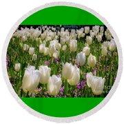 Tulips In White Round Beach Towel