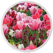 Round Beach Towel featuring the photograph Tulips by James Eddy