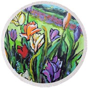Round Beach Towel featuring the painting Tulips by Jodie Marie Anne Richardson Traugott          aka jm-ART