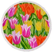 Round Beach Towel featuring the painting Tulips by Magdalena Frohnsdorff