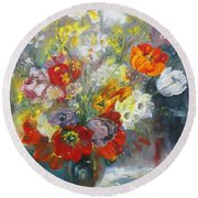 Tulips, Narcissus And Forsythia Round Beach Towel